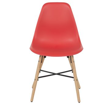 Aspen Red Plastic Chair, Wood Legs, Metal Cross Rails (sold In Pairs)